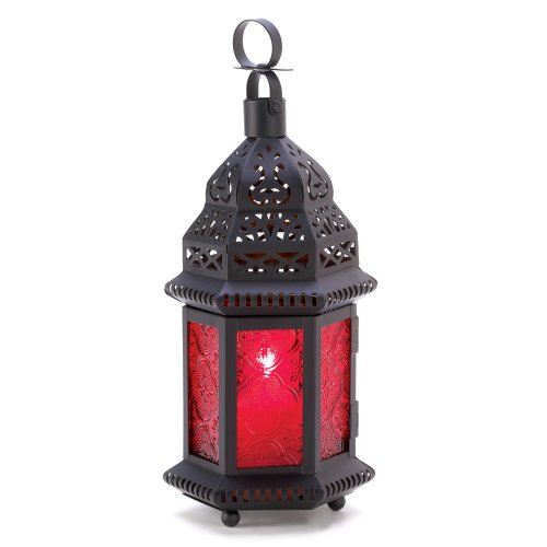 Gifts & Decor Red Glass Metal Moroccan Candle Holder Hanging Lantern by Gifts & Decor