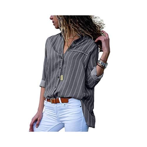 Women Striped Chiffon Long Sleeve Turn Down Collar Office Shirt Casual Loose Tops Blouses - Burnt Orange Damen Tank Top