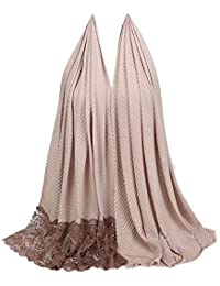 Rovinci Mode Femmes Dames Couleur Unie Coton Écharpe Dentelle Piqûre Perle  Décoration Musulman Doux Emballage Foulard 31e09710e9b