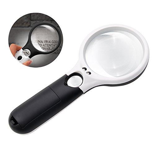 Preisvergleich Produktbild LED Leselupe Handlupe, Aodoor 3 LED-Licht Tragbare Lupe mit 3X 45X Lesevergrößerungsglas Objektiv Schmuck-bewertung Lupe (Schwarz und Weiß)