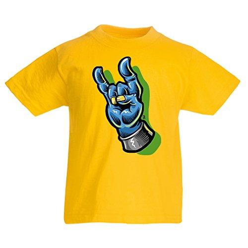 lepni.me Kinder Jungen/Mädchen T-Shirt Zombie Hand EIN Rock and Roll Symbol, Zeichen der Hörner Schwermetall Zeichen (1-2 Years Gelb Mehrfarben) (Zeichen Mädchen Toy Story)
