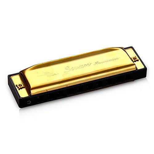 SWAN 10 Löcher chromatische Mundharmonika 20 Töne Golden in C dur