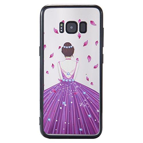 S8 Hülle ,Samsung S8 Shell Case , Galaxy S8 Black Hülle, Cozy Hut® [Liquid Crystal] [Matte Black] [With Lanyard/Strap] Samsung Galaxy S8 Ultra Slim Schutzhülle ,Anti-Scratch Shockproof und Schutz vor  lila Kleid