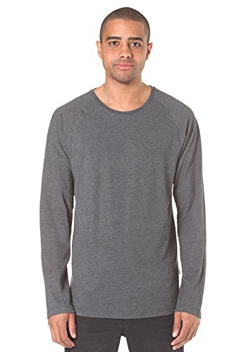 Cleptomanicx Herren T-Shirt Ligull Longsleeve - Heather Tawny Port Heather / Black