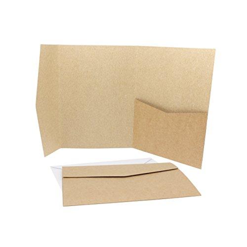 50 x Pocketfold / Falttaschen / Klappkarten mit 50 x passenden Umschlägen in weiß - Vintage Kraftpapier Umschläge ideal als Einladungskarte (50)