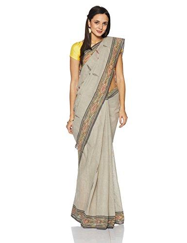 IndusDiva Pochampally Ikat Pure Cotton Handloom Saree (BLR1731001_Light Grey_One Size)
