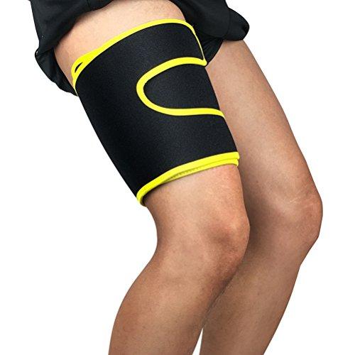 KUKE Soporte de muslo de compresión para recuperación de muslo y muslo para cañón de dolor, tierra, quad, deportes de correr (individual), amarillo