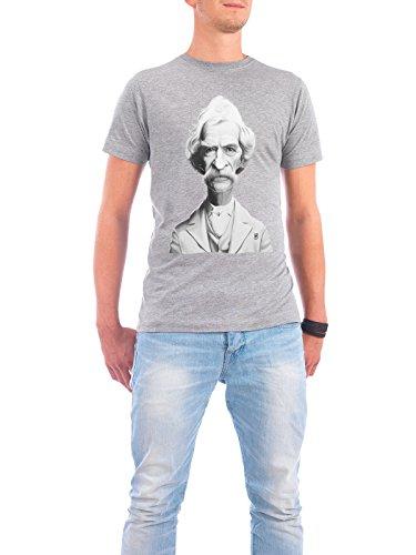 """Design T-Shirt Männer Continental Cotton """"Mark Twain"""" - stylisches Shirt Menschen von Rob Snow Grau"""