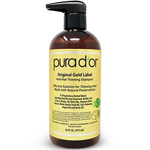 PURA D'OR Haarschadensverhütung Premium Bio Arganöl Shampoo (Goldener Aufkleber), 16 Flüssigunzen -