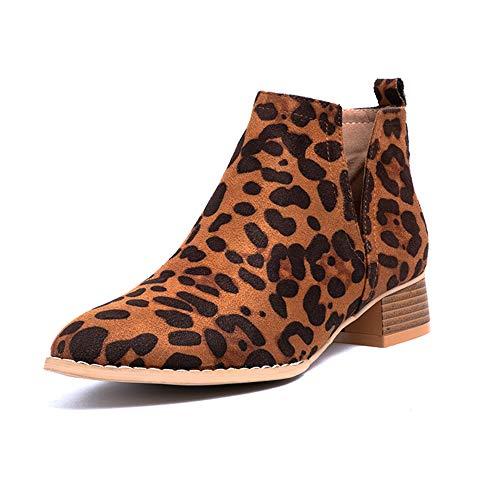 Botines Mujer Tacon Botas Chelsea Comodos Zapatos de Vistir PU Cuero Botin Western Cortas Otoño Fiesta Ancho 3.5 CM Leopardo 35