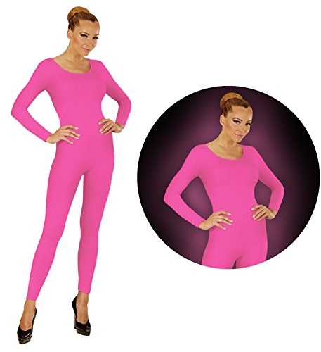 Tanz Jumpsuit Kostüm - Widmann Neon Pink Body Einteiler Jumpsuit Sport Tanz Kostüm Damen (L-XL)
