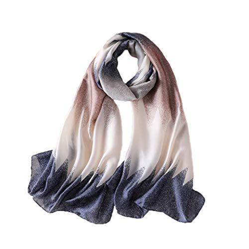 DIAOSI Gradient Small Triangle Print Seidensatin-Schal, Damen-Sommer-Haut-Komfort-Warmer atmungsaktiver Seidenschal-Schal 3 Farben (Color : Blue) -
