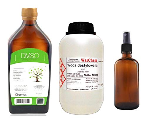 DMSO Organic 500ml 99 9% Pure Grade, Set with Distilled Water 500ml and  Amber Glass 100ml Empty Bottle / 3-5 Days UK Delivery