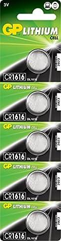 GP CR1616–7U5Batterie au lithium CR1616(3V, Lot de 5) sous blister