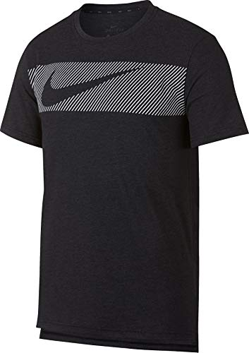 Abdeckung Herren T-shirt (Nike Herren M NK BRT TOP Short Sleeve HPR Dry GFX T-Shirt, Black Heather/White, M)