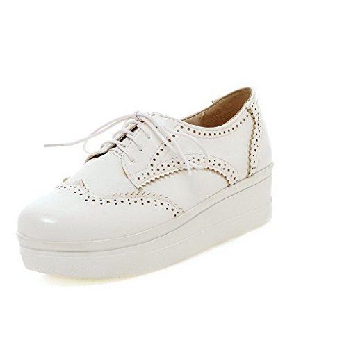 VogueZone009 Femme à Talon Correct Matière Souple Couleur Unie Lacet Rond Chaussures Légeres Blanc