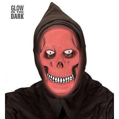 Widmann 00370 Halbmaske Grim Reaper Glow-in-The-Dark mit Kapuze, -