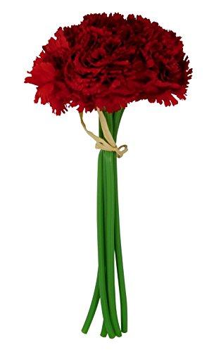 BALLERINA'S Carnation Artificial Flower Bouquet (Height 23cm; Red)