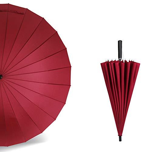 Hazelsha Regenschirm, 24 Knochen, einfarbig, manuell, gerader Griff, Business-Geschenk, für Golf, Werbeschirm, pflegeleicht, Regenschirm Stil 1 -
