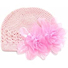 GOOTRADES Infant Baby Girl's Crochet Beanie Hat with Flower (Pink)