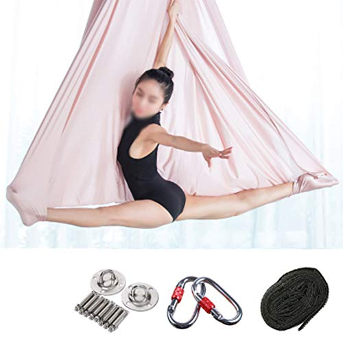 PANGU-ZC Yoga Flying Hammock-Traction Gym Hanging Aerial Safe Deluxe Kit Cinghie girevoli Antigravity Inversion Load Decompression -14 Amaca di Yoga (Colore : Rosa, Dimensioni : 7M)