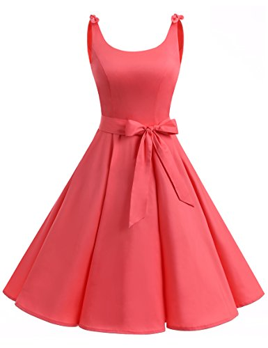 Bbonlinedress 1950er Vintage Polka Dots Pinup Retro Rockabilly Kleid Cocktailkleider Coral 3XL
