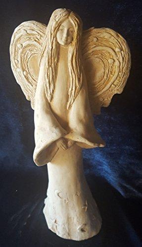 Engel Engelsfigur große Figur XL 33cm hoch Tonfigur Gips Engelchen Schutzengel mit Mond und Sternen im Kleid - Dekoration nicht nur für Weihnachten- Geschenk zur Hochzeit,Taufe, Zeichen der Liebe