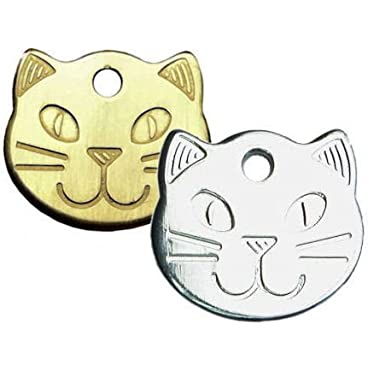 County Engraving Personalised Solid, Durable Cat Head Pet ID Tag Disc (ENGRAVED FREE)