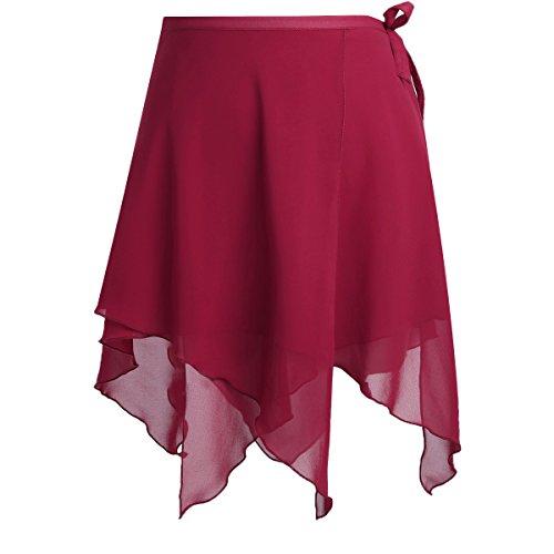 (YiZYiF Mädchen Damen Ballettrock Tanz Rock aus Chiffon Latein Cha Cha Rumba Latin Rock Wickelrock Tanz Kostüm Mini Unterrock (One Size, Z Weinrot))
