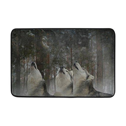 jstel Wolf Forest Tree-Fußmatte waschbar Garten Büro Fußmatte, Küche ESS-Living Badezimmer Pet Eintrag Teppiche mit Rutschfeste Unterseite 59,9x 39,9cm