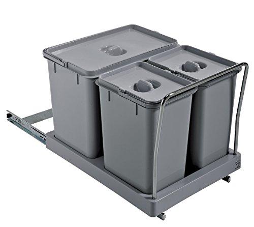 ELLETIPI Tower PA711Mülleimer Mülltrennung, ausziehbar für Base, Kunststoff und Metall, Grau, 34x 46x 36cm