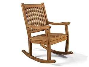 Hgg qualit en teck massif rocking chair fauteuil for Rocking chair exterieur