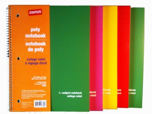 staples-college-ruled-poly-spiral-notebook-pack-of-5-70-sheets-105-x-8-in-by-staples