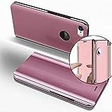 COTDINFOR iPhone 7 + Funda Espejo Ultra Slim Ligero Flip Funda Clear View Standing Cover Mirror PC + PU Cover Protectora Bumper Case para iPhone 7 Plus / 8 + Rose Gold Mirror PU MX.