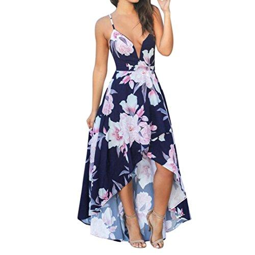 Oyedens® kleid damen Frauen elegantes V-Ausschnitt Blumen gedrucktes ärmelloses Boho langes Kleid Reizvolles rückenfreies kleid Böhmisches kleid Partykleid Abendkleid Strandkleid (L, - Kleid Chiffon Bodenlangen Mädchen