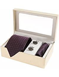 Sir Michele Designer Purple Micro Silk Tie, Pocketsquare and Cufflink Set for Men (Pack of 3)