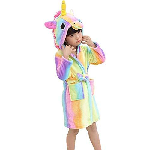 JZLPIN Kleinkind Kinder Flanell Bademantel Einhorn Bademantel mit Kapuze Pyjamas Jungen Mädchen Nachtwäsche Rainbow 120cm/5 - Kleinkind Rainbow Kostüm