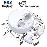 Bluetooth Kopfhörer V5.0 Kopfhörer In Ear, Binauralen HD-Anruf Drahtlose Ohrhörer, Kabellos Ohrhörer mit Mikrofon Stereo & tragbaren Ladecase für Apple, Android Geräte und PC