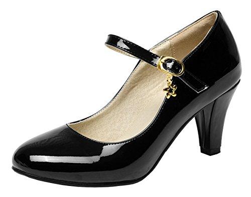 YE Damen Mary Jane Pumps Blockabsatz Lack High Heels mit Schnalle 7cm Absatz Bequem Schuhe Strap Mary Jane Pump