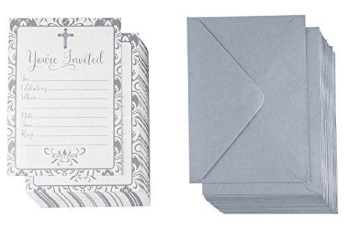 60-pack Religiöse Einladungen-Christian Einladung Karten, silber Kreuz und floralem Muster, ideal für Beerdigung, Taufe, Taufe, Kirche Events, v-flap Umschläge enthalten, 12,7x 17,8cm
