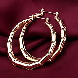 SLB Works Brand New Fashion Women Punk Old School Gold Bamboo Big Hoop Large Circle Earrings Jewelry