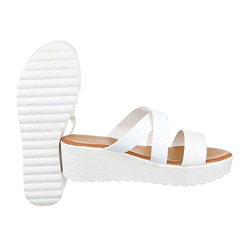 Pantoletten Damen Schuhe Jazz & Modern Keilabsatz/ Wedge Keilabsatz Ital-Design Sandalen / Sandaletten Weiß
