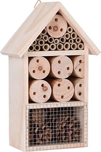 made2trade Robustes Insektenhotel aus Naturholz - 15x9x25cm