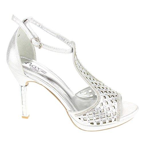 Aarz Femmes Mesdames Soirée Diamante talon haut de mariage Sandals Prom Party Chaussures de mariée Taille (Or, Argent, Champagne) Argent