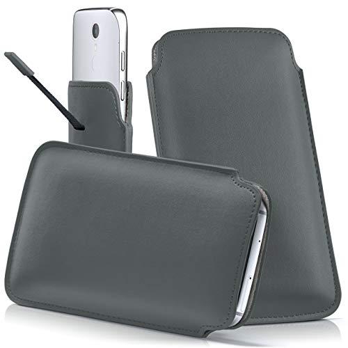 moex Coolpad Torino S | Hülle Grau Sleeve Slide Cover Ultra-Slim Schutzhülle Dünn Handyhülle für Coolpad Torino S Case Full Body Handytasche Kunst-Leder Tasche