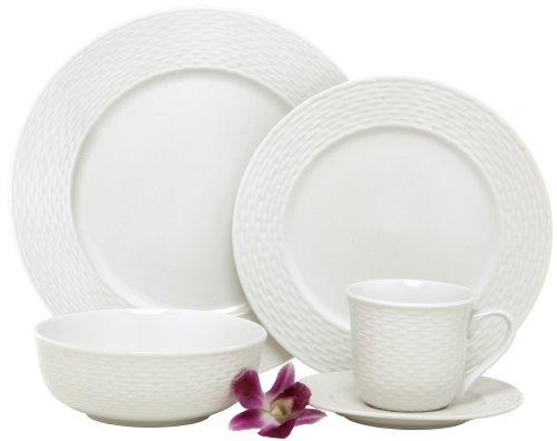 Melange Nantucket Weave Geschirr-Service, Porzellan, für 8 Personen, 40-teilig, Weiß (Vanille-weiße Rote Geschirr)