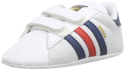 adidas Originals Unisex Baby Superstar Crib Lauflernschuhe, Weiß (Ftwr White/Shadow Blue S16-St/Lush Red S16-St), 19 EU