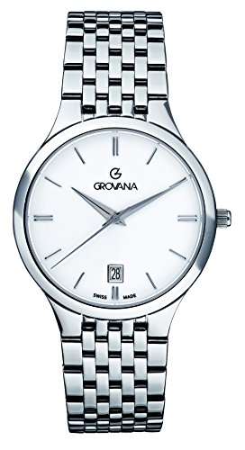 GROVANA 2013.1133 Men's Quartz Swiss Watch with White Dial Analogue Display and Silver Stainless Steel Bracelet