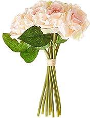 Fourwalls Artificial Rose Bouquet (26 cm, 10 Flower Stems, Light Pink)