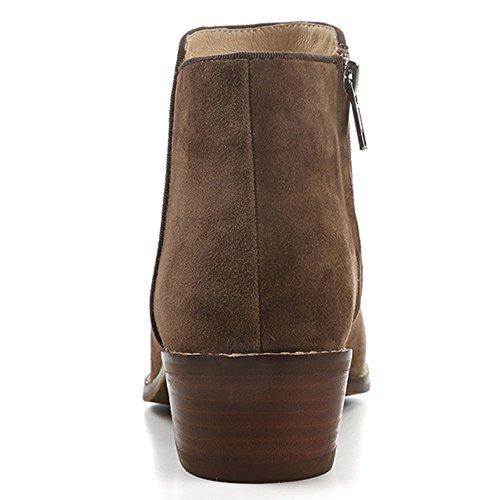 OZZEG En cuir mode bottes femmes de la femme chaussures bottes doublure de fourrure Café